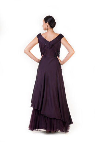 Purple Embroidered Asymmetrical Layered Drape Gown