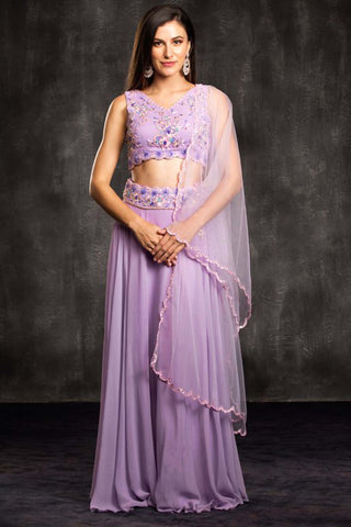 The Purple Lavendar Field Lehenga Set Front