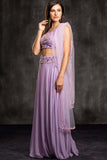 The Purple Lavendar Field Lehenga Set Side