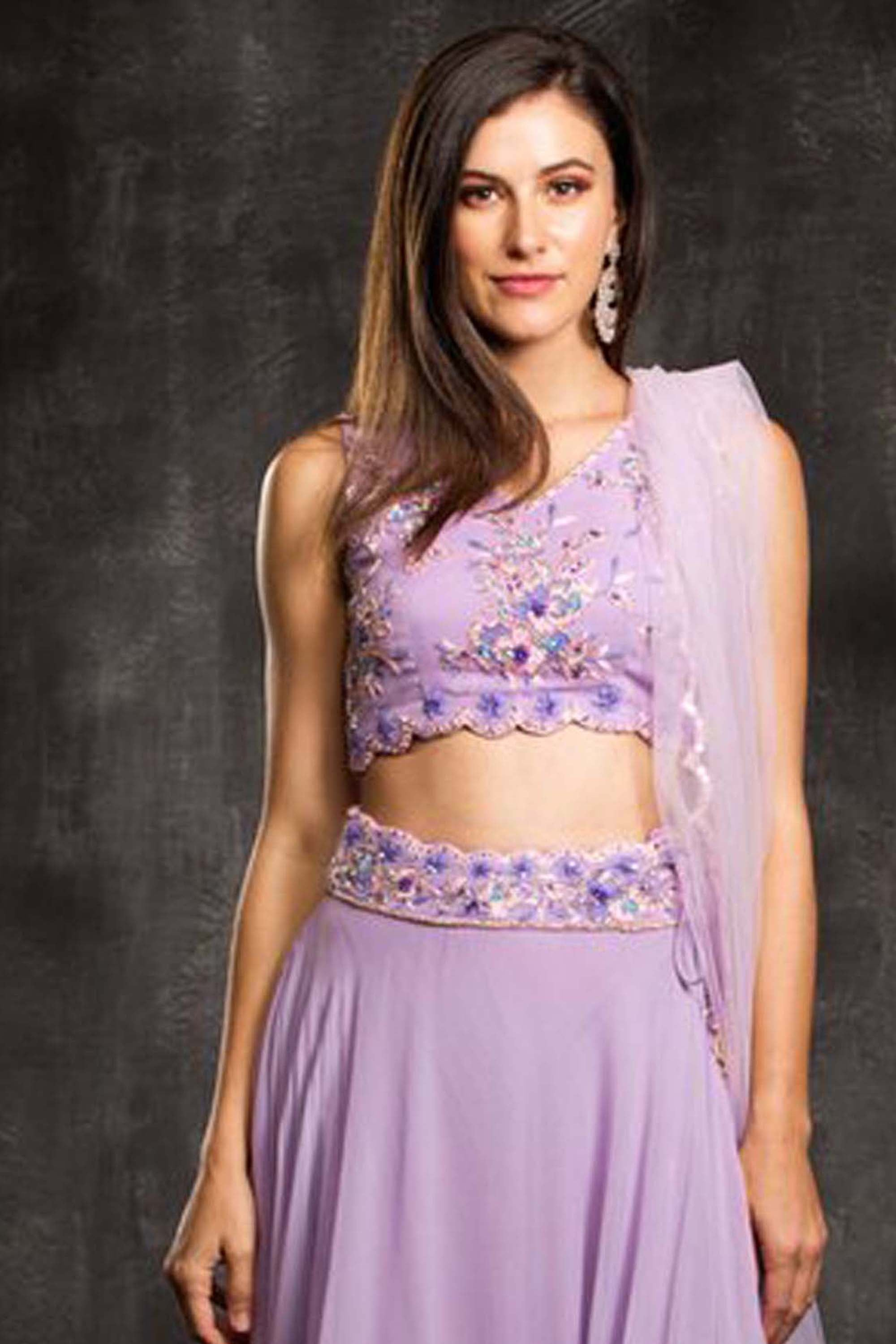 The Purple Lavendar Field Lehenga Set CloseUp