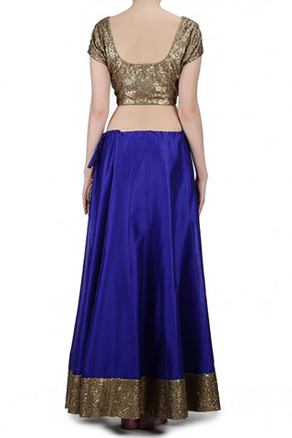 Blue Silk Sequin Lehenga
