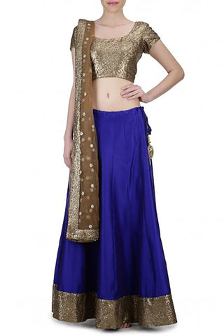 Blue Silk Sequin Lehenga Front