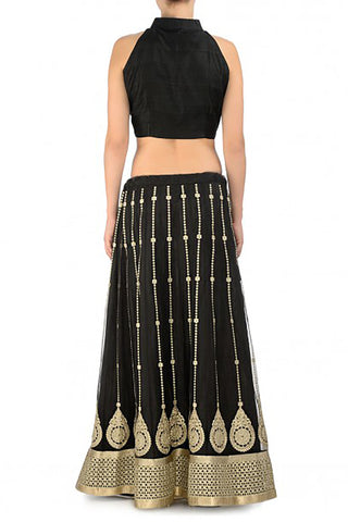 Black & Metallic Lehenga
