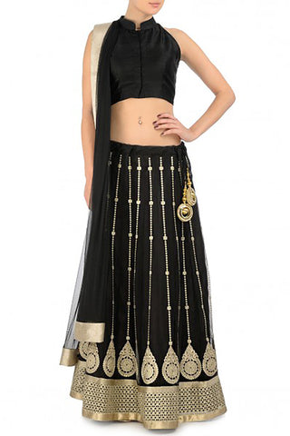 Black & Metallic Lehenga Front