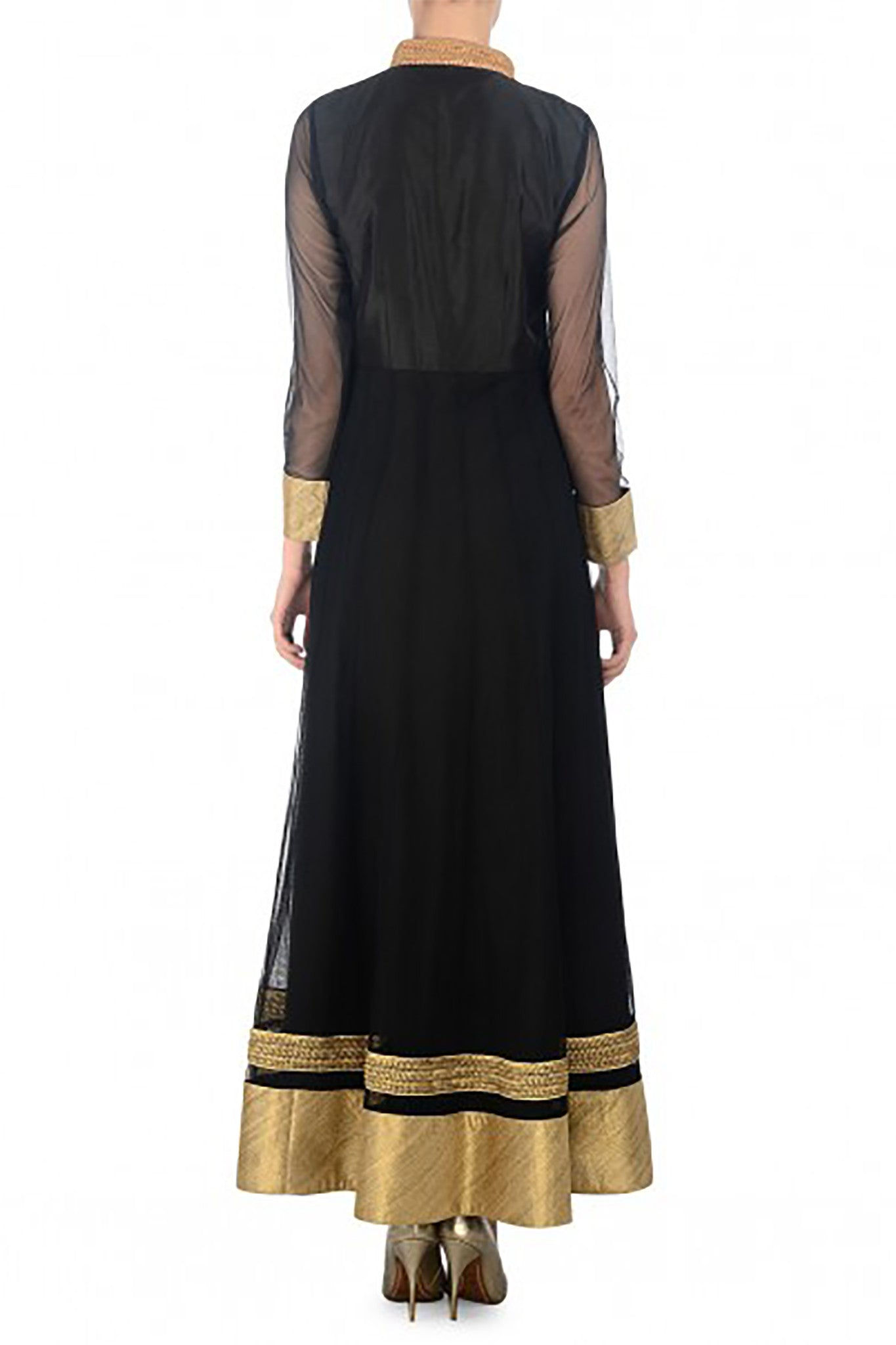 Black Zardozi Anarkali Back