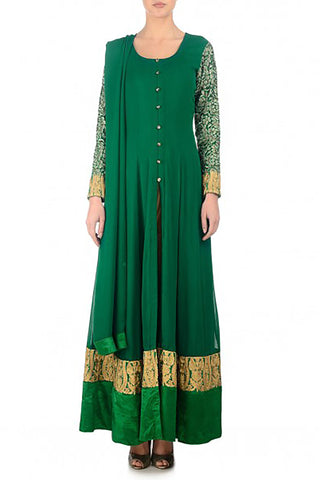 Emerald Georgette Anarkali Front