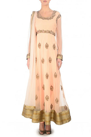 Blush Peach Anarkali Front