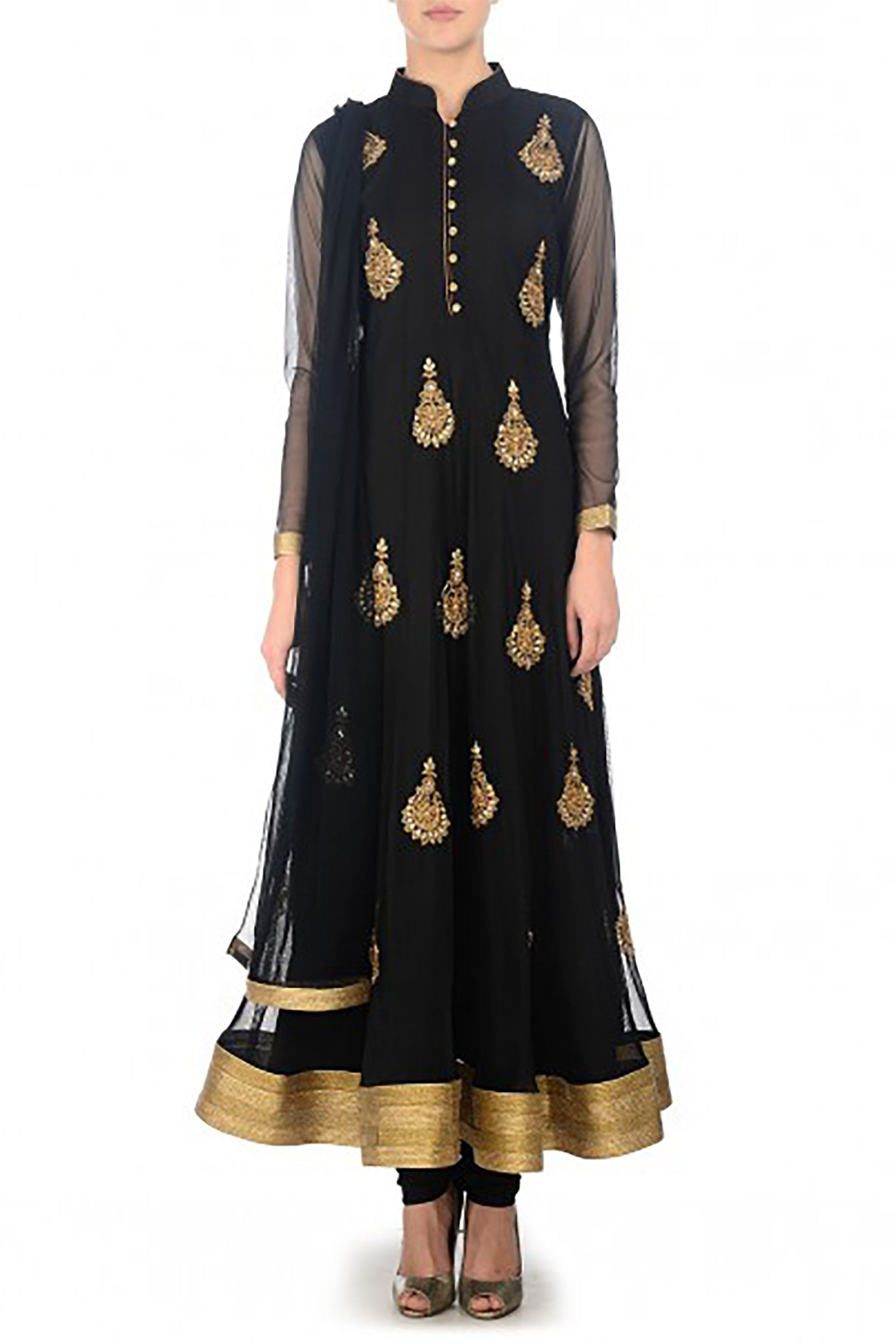 Black Net Anarkali Front