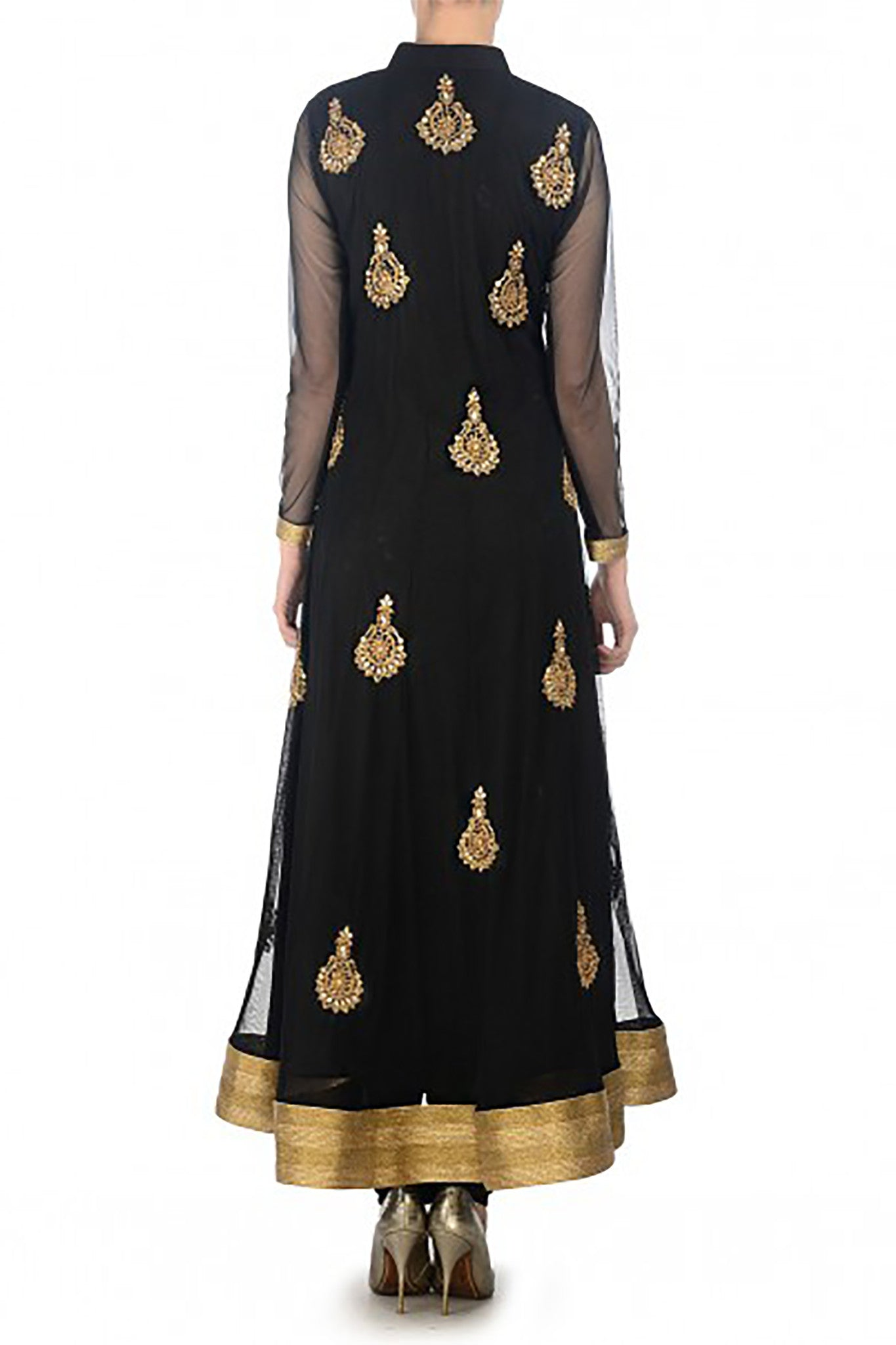 Black Net Anarkali Back