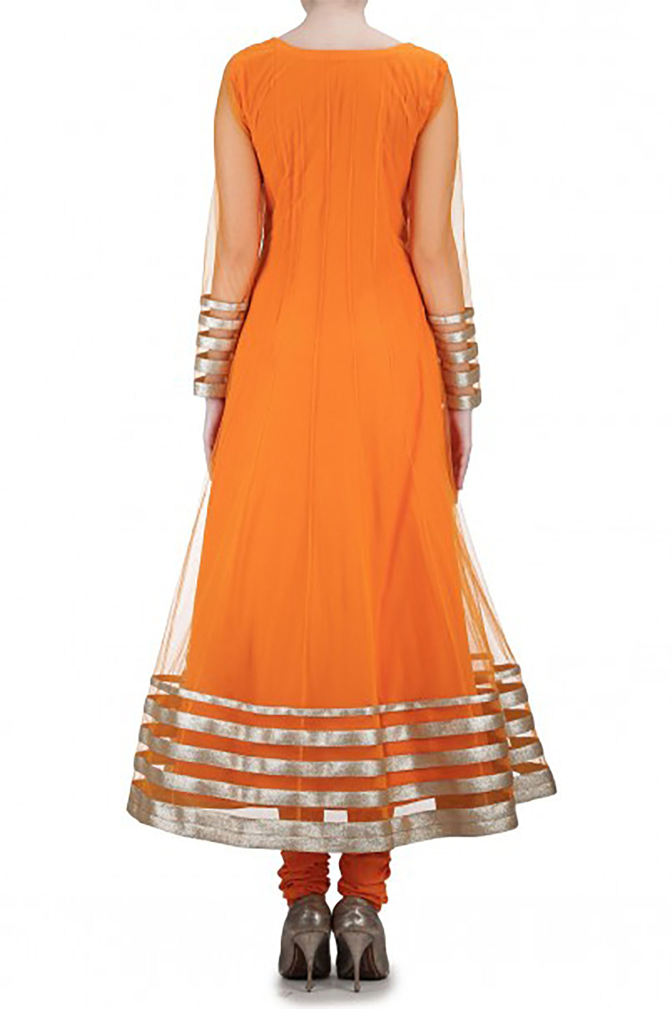 Orange Net Anarkali Back