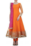 Orange Net Anarkali Front