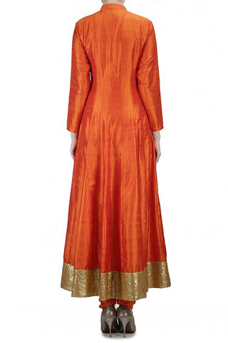 Mehendhi Raw Silk Anarkali