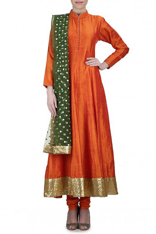 Mehendhi Raw Silk Anarkali Front