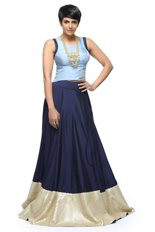 Navy Blue Silk Skirt Front