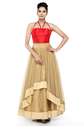 Red & Gold Skirt Set Front