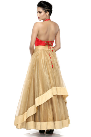 Red & Gold Skirt Set