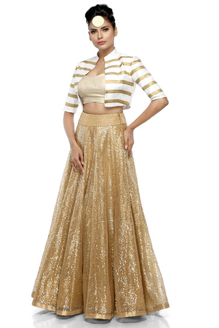 Beige Flower Sequins Skirt With White Jacket Set Front