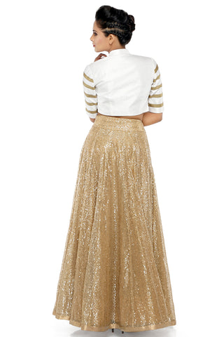 Beige Flower Sequins Skirt With White Jacket Set