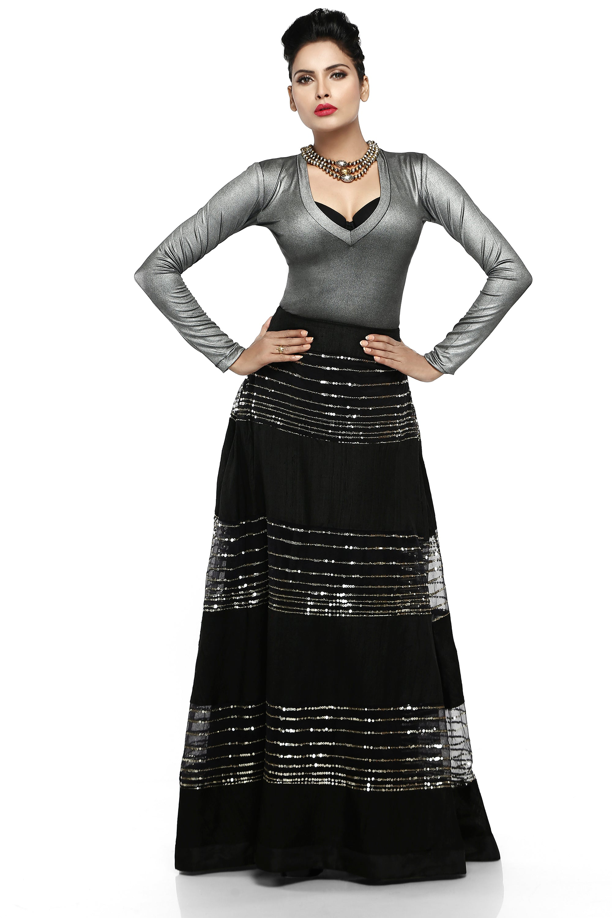 Black Raw Silk Skirt With Metallic Silver Lycra Top Front