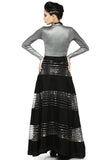 Black Raw Silk Skirt With Metallic Silver Lycra Top Back