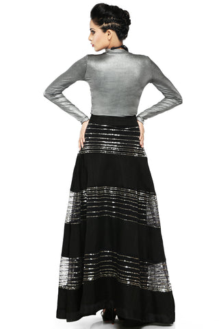 Black Raw Silk Skirt With Metallic Silver Lycra Top