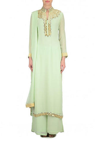 Mint Anarkali Suit Front