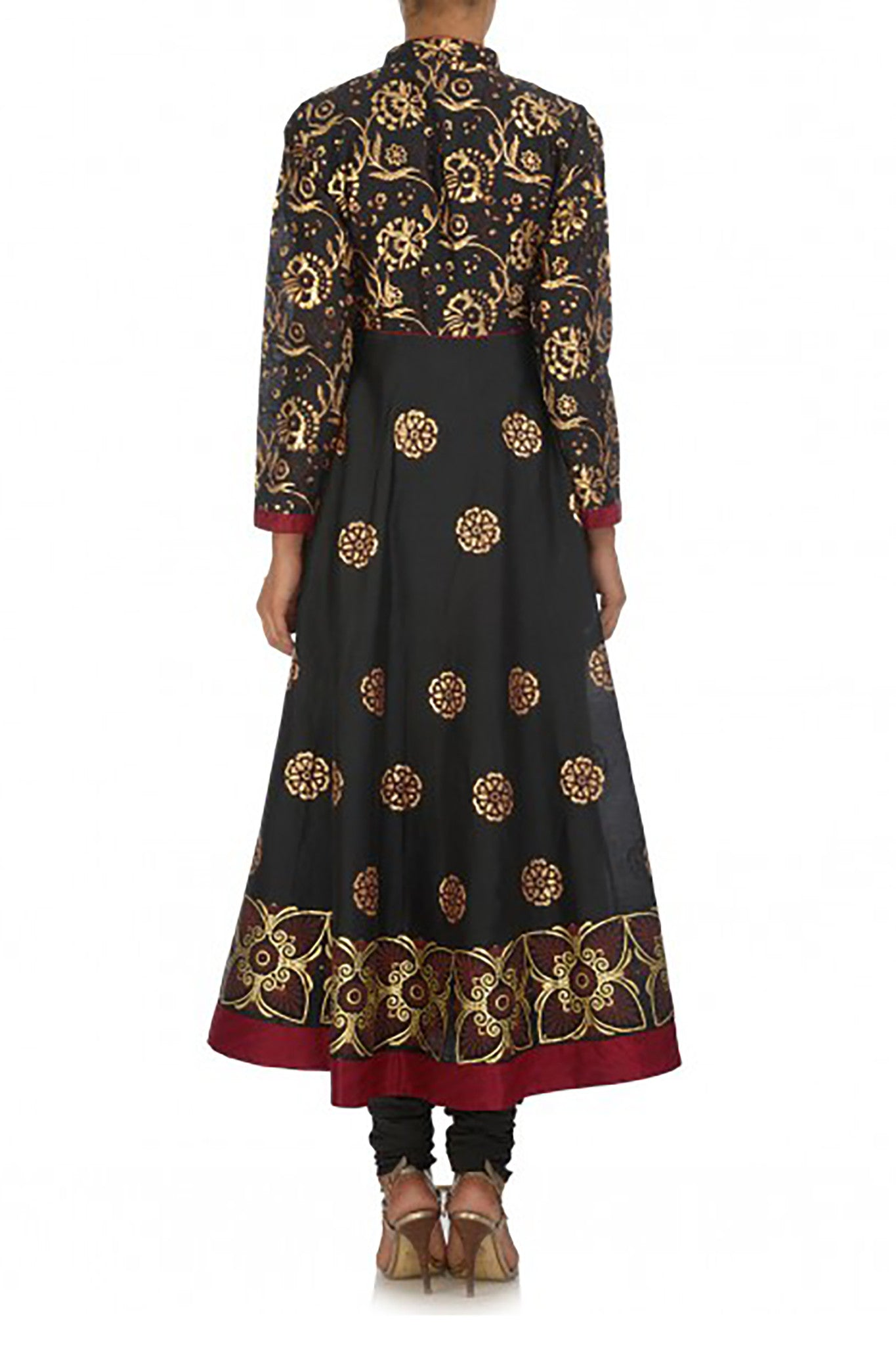 Black Floral Anarkali Back