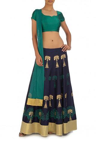 Midnight Blue Silk Lehenga Front