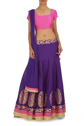 Regal Purple Silk Lehenga Front