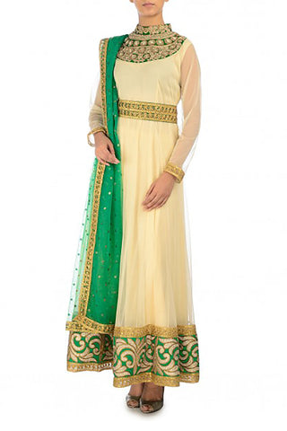 Cream and Green Anarkali Suit