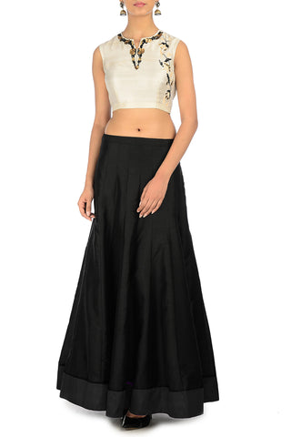 Black & Cream Lehenga with Sequinned Neckline Front