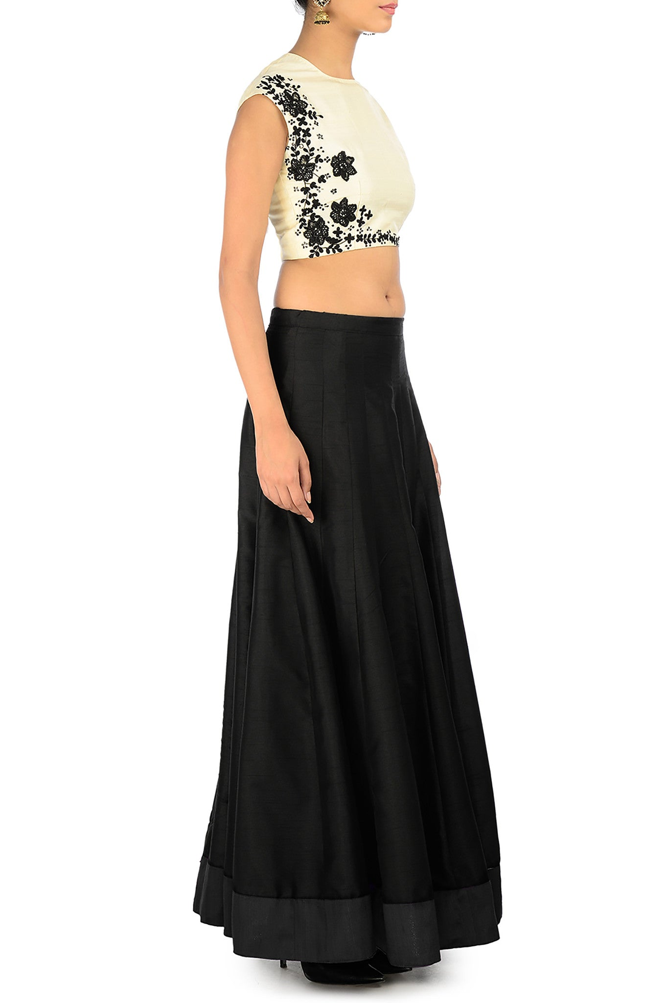 Black & Cream Silk Lehenga with Embroidery Side