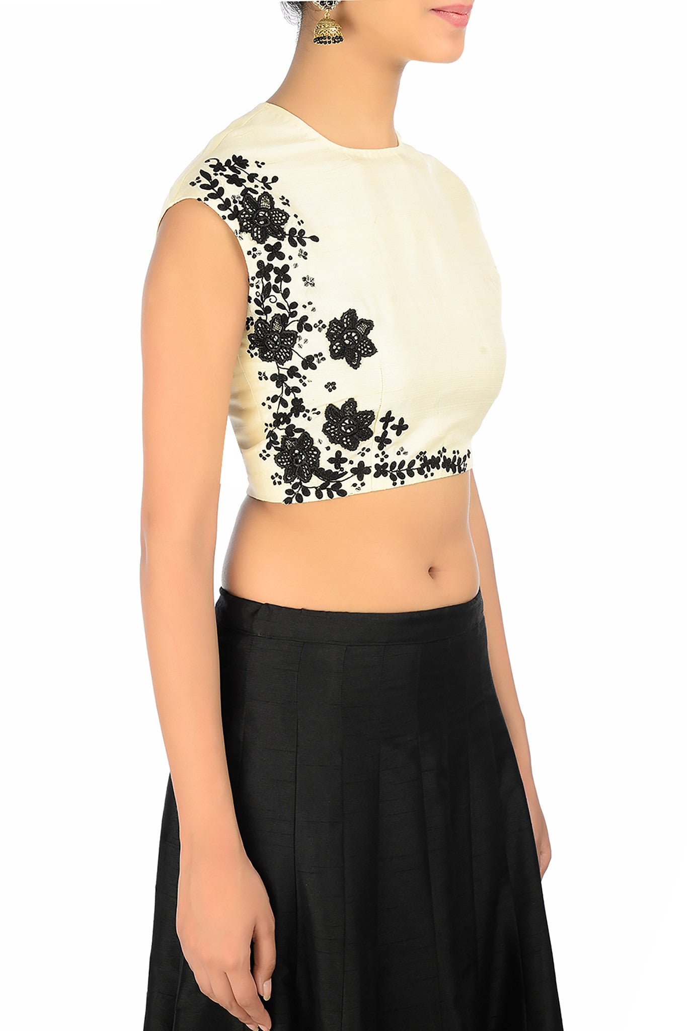 Black & Cream Silk Lehenga with Embroidery Blouse
