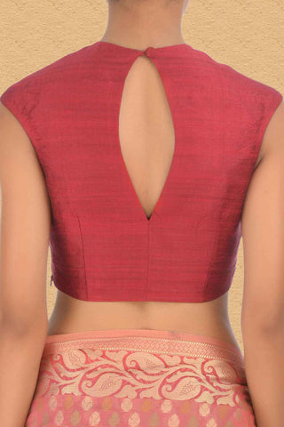 Raw Silk Red Sleeveless Blouse