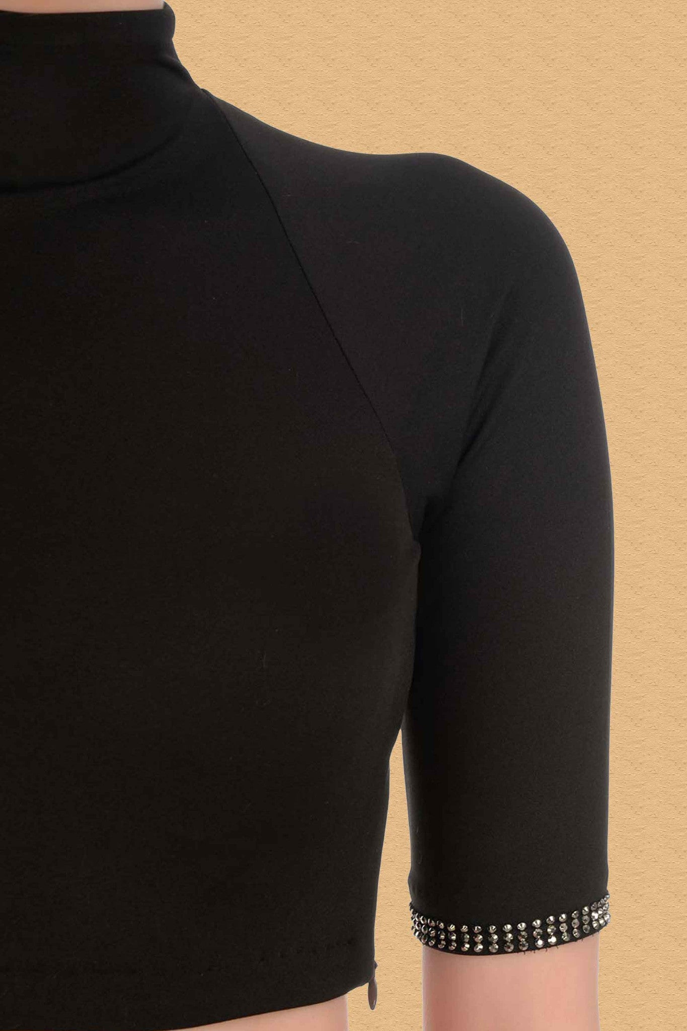 Black Blouse With Turtle Neck CloseUp