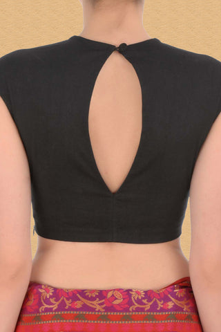 Black Blouse With Embellished Neckline