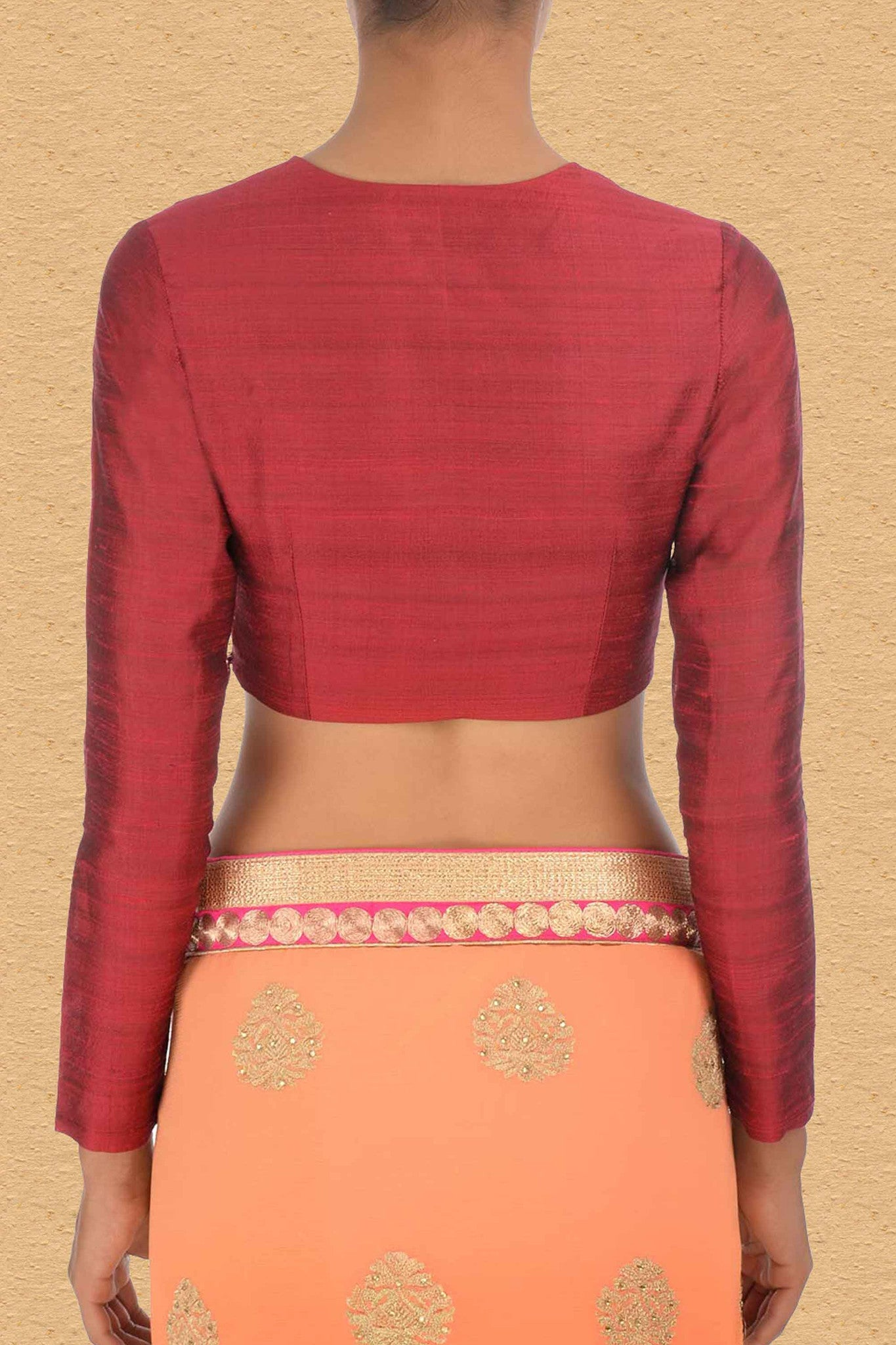 Indian Red Blouse With Split Neck Back