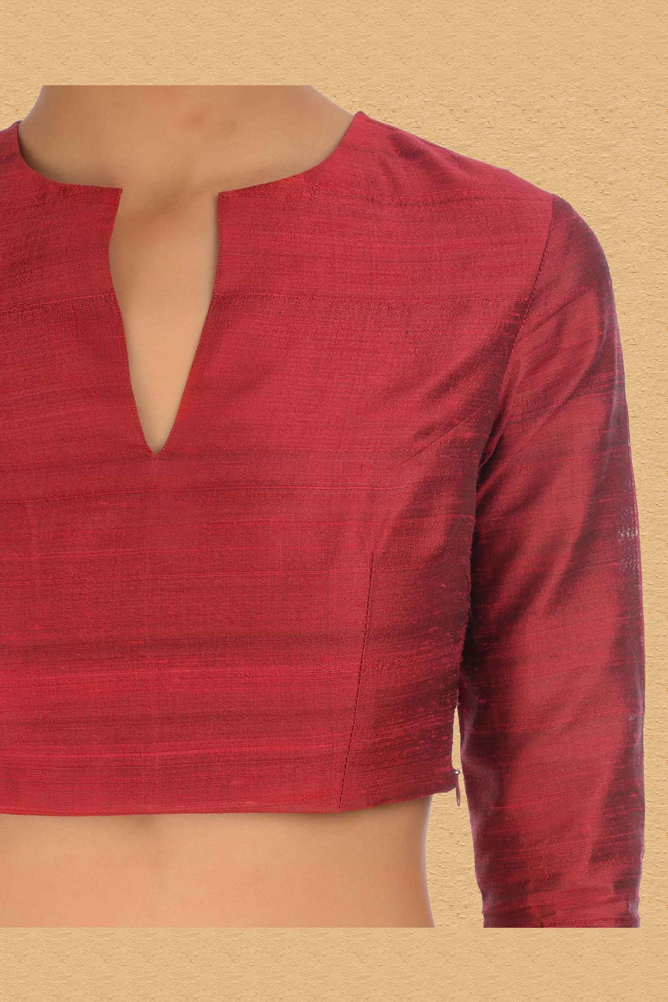 Indian Red Blouse With Split Neck CloseUp