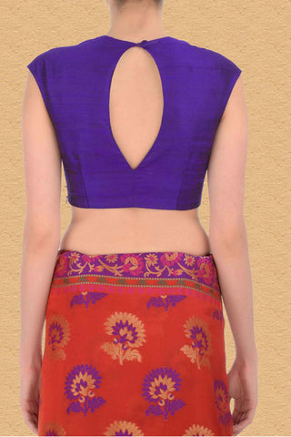 Raw Silk Purple Sleeveless Blouse