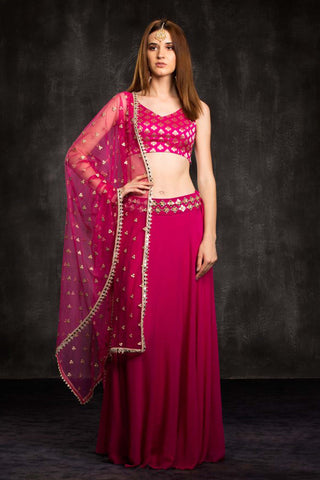 The Pink Mia Mirror Lehenga Set Front