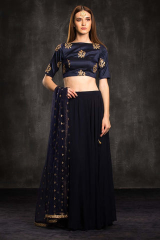 The Blue Natalie Lehenga Set Front