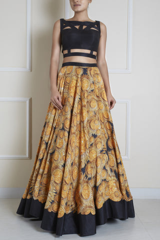 Sunflower Print Skirt and Crop Top Front