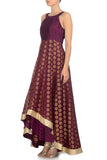Plum & Gold Anarkali Side