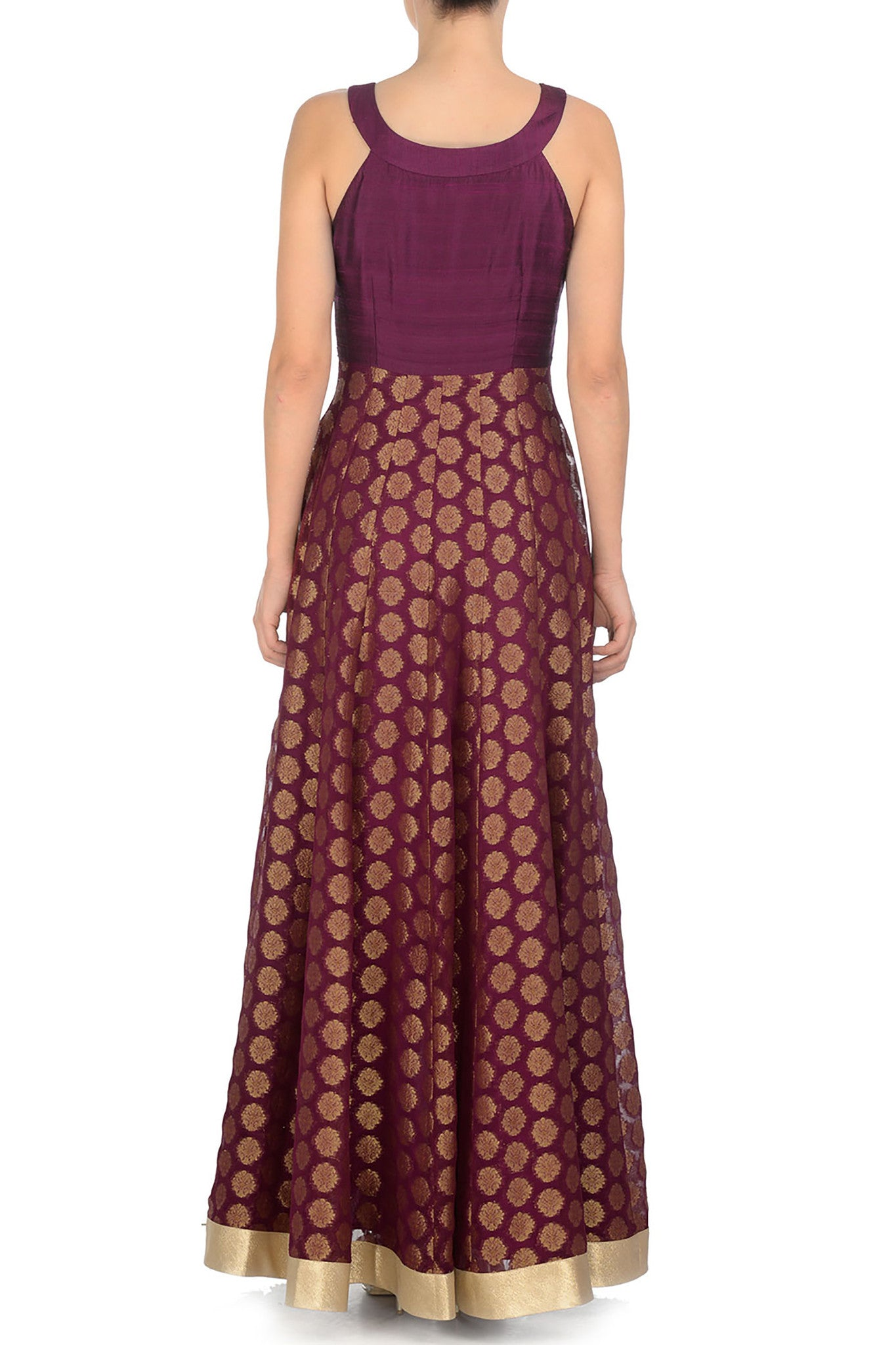 Plum & Gold Anarkali Back