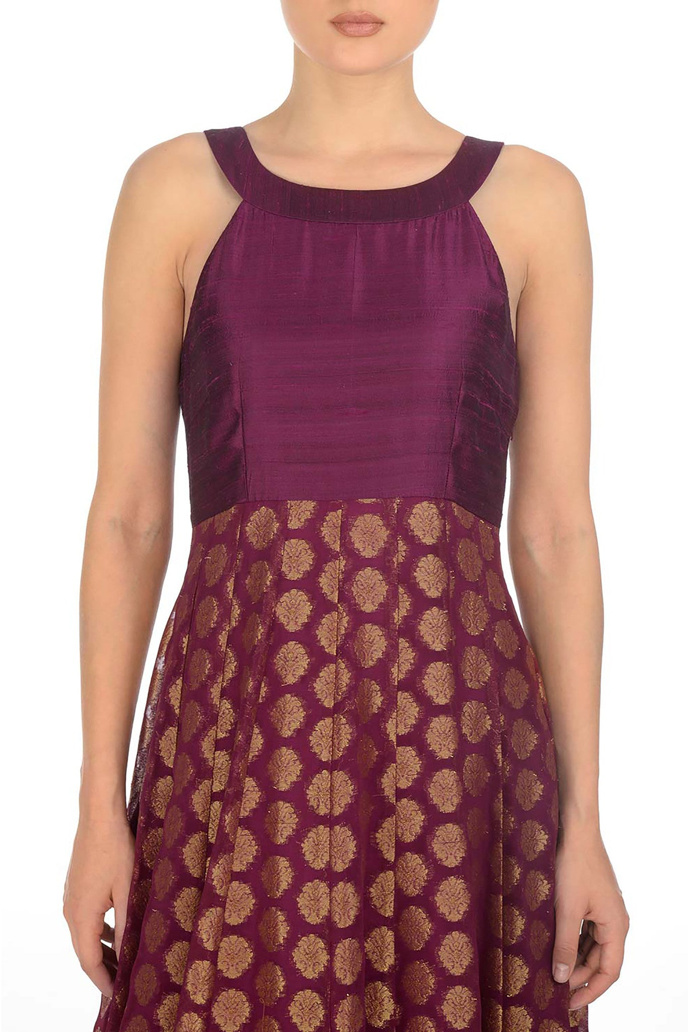 Plum & Gold Anarkali Close Up