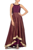 Plum & Gold Anarkali Front