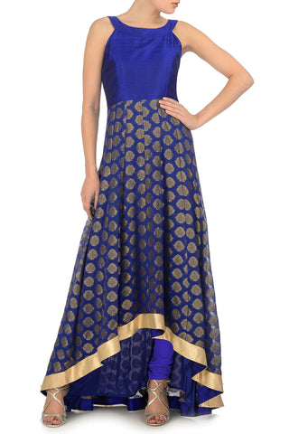 Blue & Gold Anarkali Front