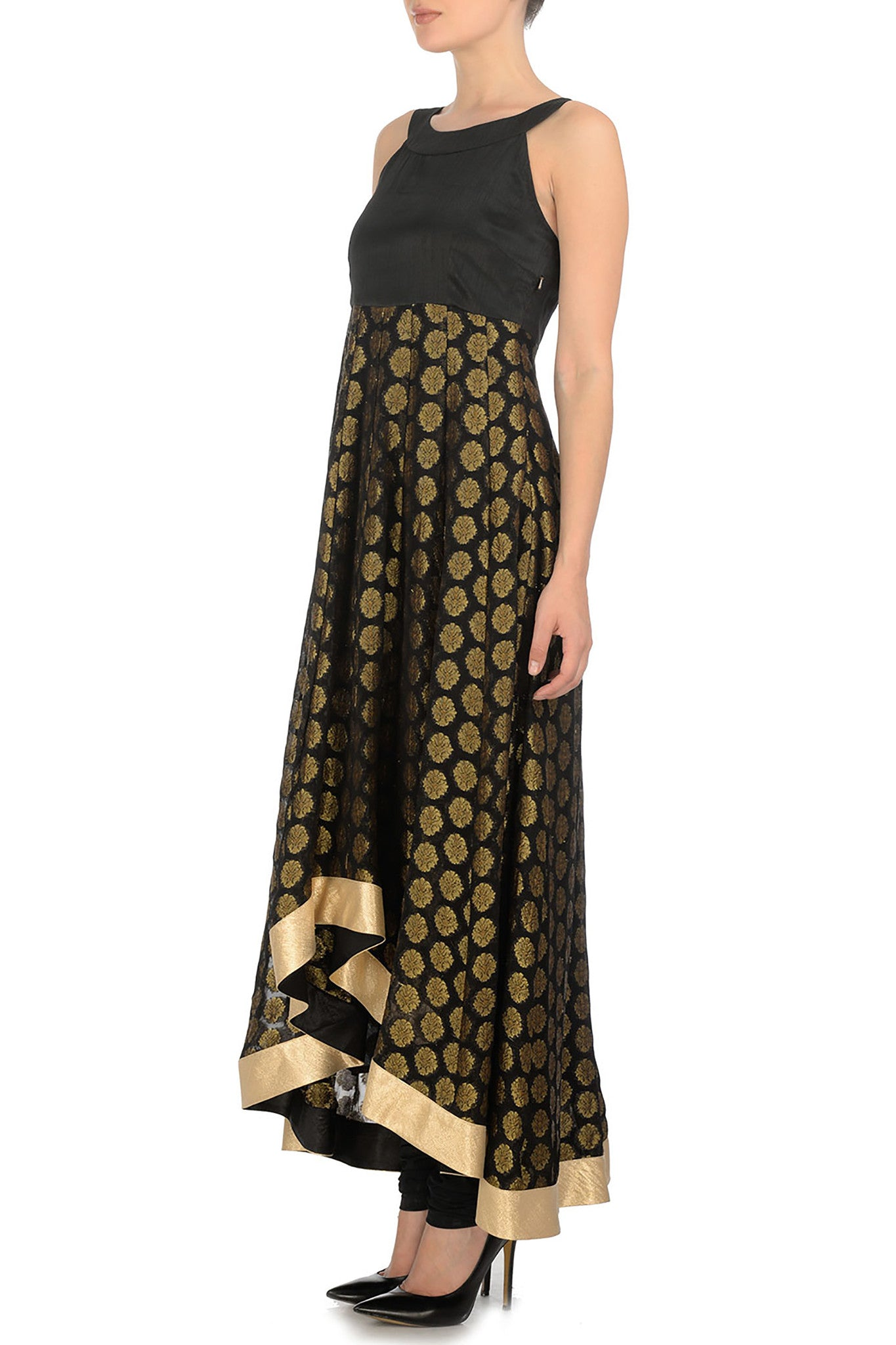 Black & Gold Anarkali Side