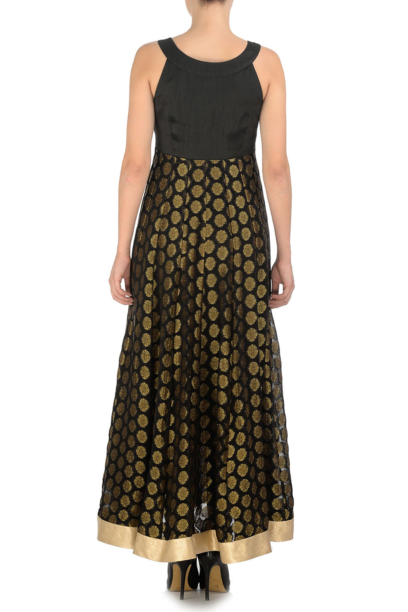 Black & Gold Anarkali Back