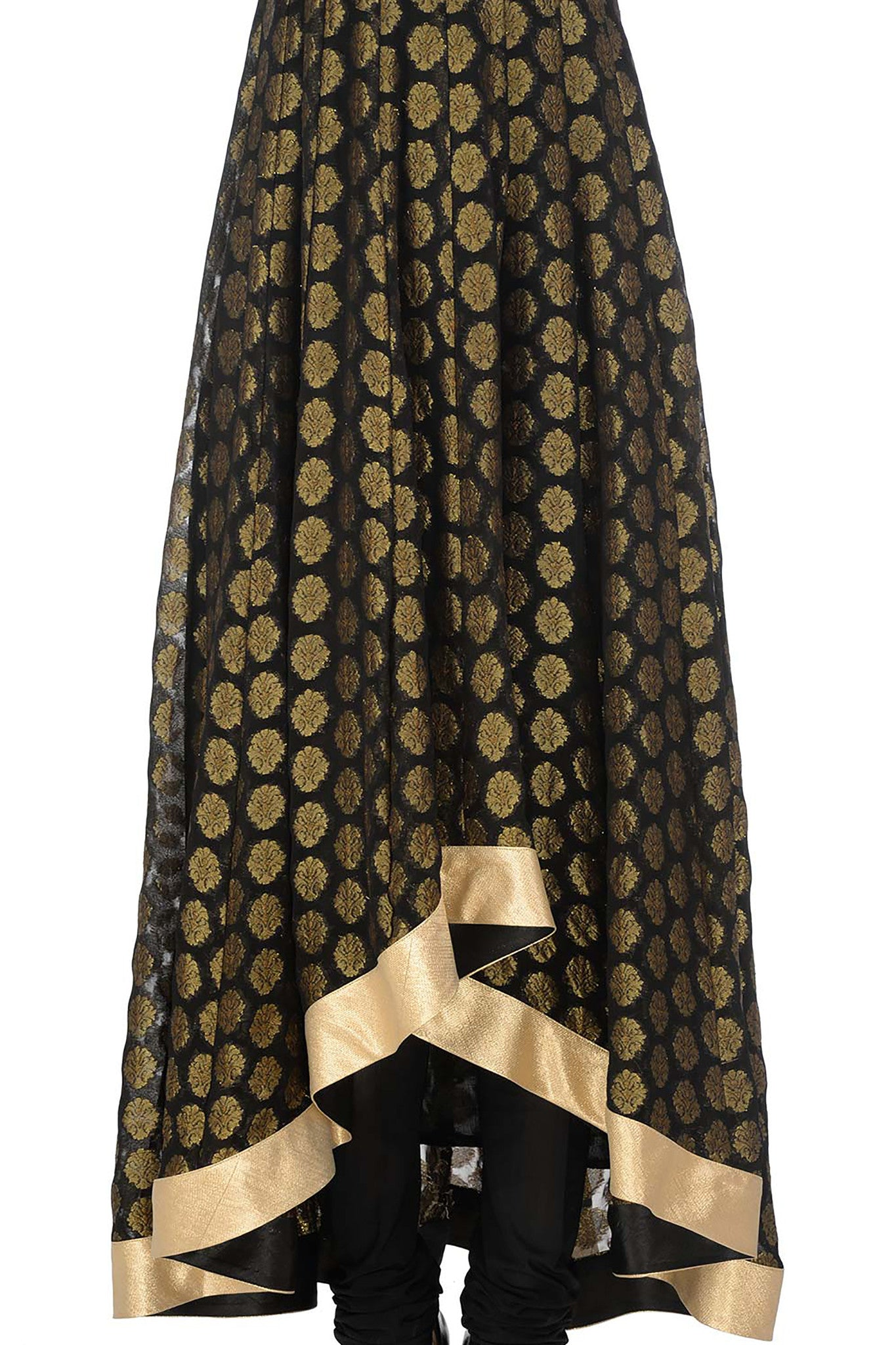 Black & Gold Anarkali Skirt
